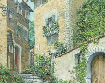 old alley Italian landscape painting oil on canvas measuring 50 x 50 cm. frame 2 cm.
