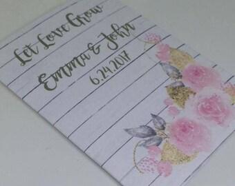 light pink rose wedding favors, pink rose seed packet favors, rustic rose favors, pink gold wedding favors, flower favors, pink bouquet