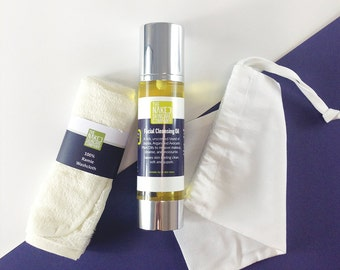 Cleansing Oil Set//with Washcloth//Natural Skin Care//Argan oil//Cleanser//Vegan//