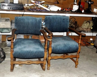 Antique rocking chair and matching side chair.