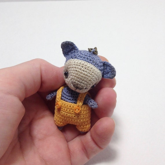 Amigurumi cat with bobble head crochet blue cat with yellow