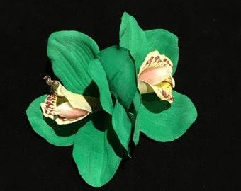 Emerald Green Double Cymbidium Orchid Pin Up Hair Flower Clip
