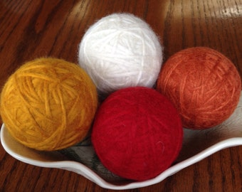 Felted Wool Dryer Balls, Set of 4 - Orange, Red, Yellow and Ivory