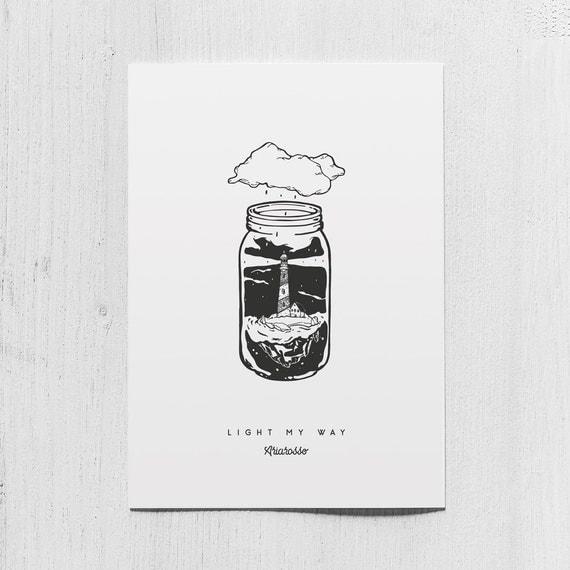 Poster Art Print - Light my Way - Blackwork Series A5 Size - Lighthous...