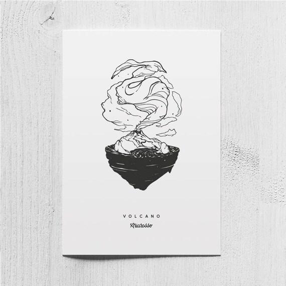 Poster Art Print - Volcano Blackwork Series A5 Size - Volcano Island O...