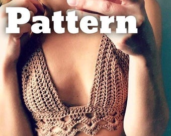 Crochet bralette pattern, crochet top pattern Bralette Top Pattern Crochet Crop Top Crochet Lace Top Crochet Bikini Top Crochet Bra