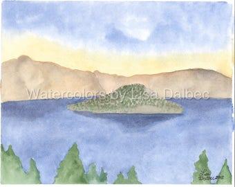 Crater Lake Watercolor