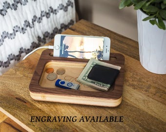 Fathers Day Gifts, Gifts for Men, Boyfriend gifts, Wood Docking Station, Gift ideas for Men, Gifts for Boyfriend, mens gifts, Mens Valet.