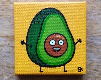 "Avocado Painting / Mini Cute Cartoon Food Painting (2"" x 2"")"