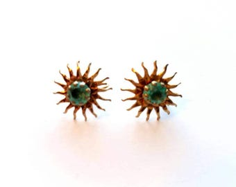 Vintage Gold Sun Burst with Aqua Rhinestone Screw On Earrings