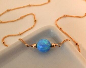 Opal Choker • Blue Opal Choker • Opal Necklace •  Choker Necklace • Gold Silver or Rose Gold • Minimal • Girlfriend Gift [800]