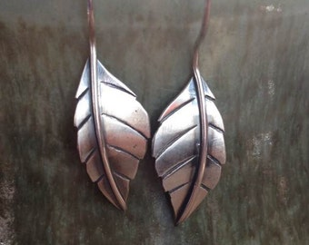 Sterling Delen silver leaf earrings