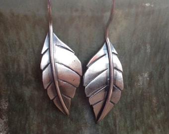 Sterling Delen silver leaf earrings