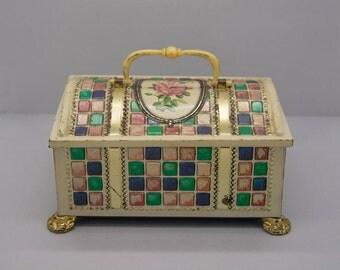 Vintage colorful jewelry box. Storage box. Boho Hippie. Jewelry organizer. Case jewelry box. Home decor.