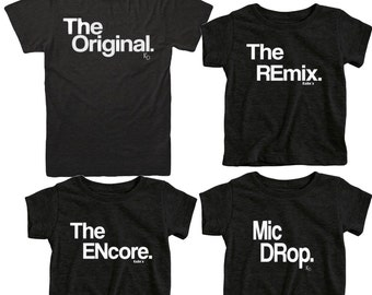 Camisas de familia correspondientes. Camisas de familia correspondientes. Conjunto de 3 trajes de familia correspondientes. El Original. El Remix. Ropa para hombre. Set de regalo de papá.