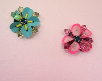Neon pink flower beads