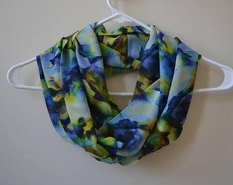 Colorful Chiffon Infinity Scarf, Blue Green Yellow Chiffon Scarf, Summer Fashion, Women Accessories, Spring, Summer, Fall