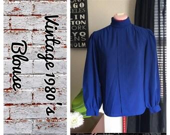 Vintage cobalt blue flowy blouse circa 1980's- size 8