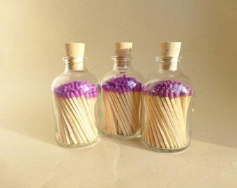 LIMITED EDITION Dark Pink!! Medium Reclaimed Glass Apothecary Bottle with Matchsticks - 50 ml Size
