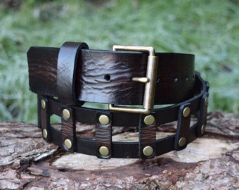 Cristopher Handmade Full Grain Dark Brown Leather Belt fitted with Antique Brass Roller Buckle