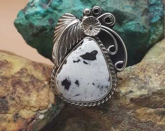 Natural White Buffalo set in Sterling Silver Ring Sz 8