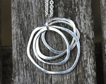 Ring Pendant, Ring Necklace, Multi Ring Necklace, Sterling Silver Necklace, Layered necklace, layered pendant, silver ring necklace