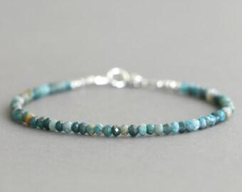 Blue Apatite Bracelet Beaded Bracelet Skinny Bracelet Gemstone Stacking Bracelet