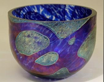 Glass Bowl, Michael Ahlefeldt-Laurvig. Own Studio, Sweden. Scandinavian Art Glass