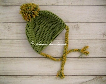 Crochet baby hat - Baby pom pom beanie, Made to order for Newborn to 12 Months, Made with merino wool,