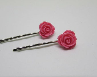 Pink Hair Pins, Flower Girl Gift, Rose Bobby Pins, Rose Hair Grips, Kirby Grip, Hair Accessories, Floral Accessories, Summer Hair