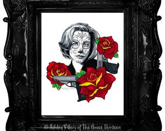 """Dana Sugar Scully, Dia de los Muertos Print, 8x10"""" Day of the Dead X-Files Reproduction, Sugar Skull, Old School Tattoo, Gift for Her"""