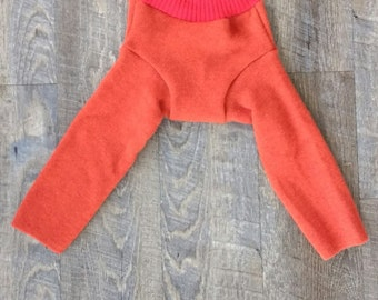 Upcycled Orange Wool Longies - Soaker - Shorties - Cloth Diaper Cover - Baby Toddler Pants Large L Shower Gift