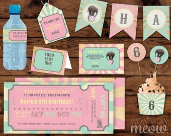 Circus Party Package Birthday Carnival Invitations Girl's Pastel Full Printable Collection Pink Mint INSTANT DOWNLOAD Editable Personalize