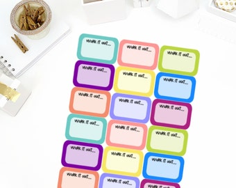 Work It Out Half Box Stickers! Perfect for your Erin Condren Life Planner, calendar, Paper Plum, Filofax!