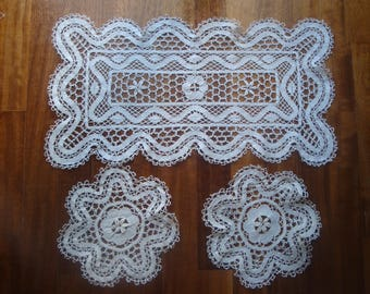 Set Of 3 Vintage Antique Handmade Embroidery Lace Doily Victorian