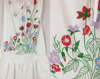 Sweet 80's Summer Garden Dress with Butterflies Morning Glory / Vintage 1980's White Strapless or Halter Dress with Ruffled Hem Plus Size