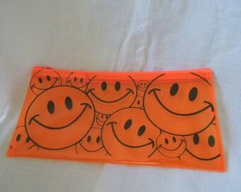 90s Smiley Face Orange Pencil Case Bag