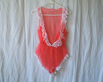 70s Hot Pink and White Frilly Tie Front Teddy