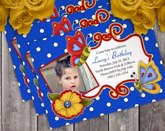Butterfly Birthday Party Invitation - 4 Different Colors