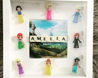 Personalised Lego Disney Princess Frame for lIttle girls room, princess room, Play Room Decor