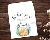 Seed Packet Favor, Let Love Grow, Wildflower Seed Packets, Woodland Wedding, White Seed Packets, Wedding Favor, Fox Favor x 25