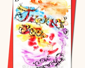 THANK YOU watercolour Greeting card, Personalised cards