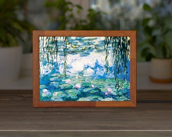 Claude Monet Water Lilies LED powered slim Lightbox home decor night light USB connection