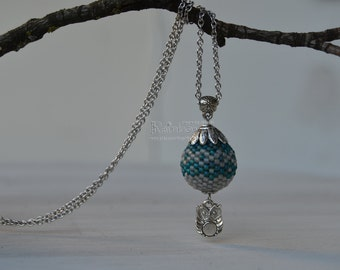 Beaded ball pendant Seed beads pendant Beaded bead pendant Pendant with owl Frosted pendant Pendant with chain necklace Owl charm pendant