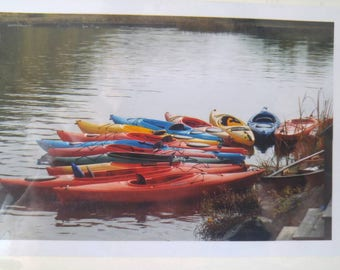 Blank card with kayak photo -- 4 x 6
