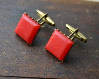 Soviet vintage cufflinks, Brass red plastic cufflinks, Boutons de manchette, Memorabilia of the 1970s, Vintage cuff links, Made in USSR