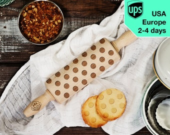 Dots - MINI laser engraved rolling pin