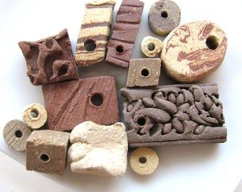 Ceramic beads, handmade, 14 beads, rectangles, squares, tubes, vintage beads,  B-1247