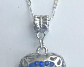 Blue Crystal Hollow Heart Pendant Necklace