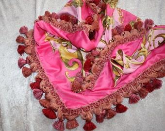 Shawl - tassel cloth - pink - fringed cloth